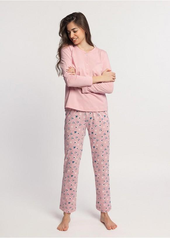Pijama Dama Ginko roz Bumbac Organic