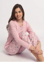 Pijama dama bumbac organic cu maneca lunga Ginko roz