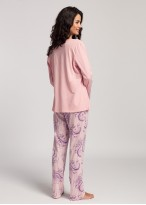 Pijama dama bumbac Pink Stripes powder pink