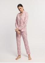 Pijama dama bumbac organic cu nasturi Ginko roz