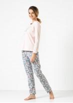 Pijama dama bumbac organic maneca lunga Ginko