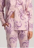 Pijama dama bumbac cu nasturi Pink Stripes