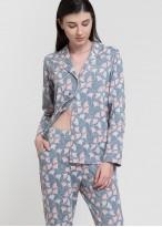 Pijama dama bumbac organic cu nasturi Ginko
