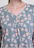 Pijama dama bumbac organic maneca lunga Ginko imprimat