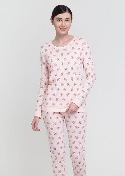 Pijama dama modal cu mansete Peacock