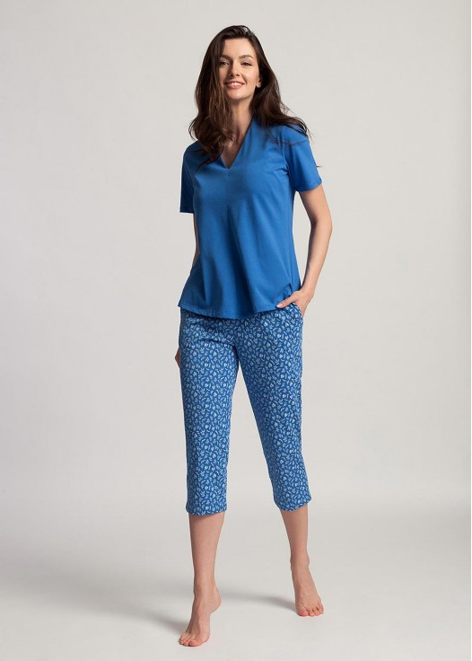 Pijama dama bumbac organic cu maneci scurte Debora