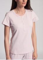 Pijama dama bumbac organic maneci scurte Blossom pink