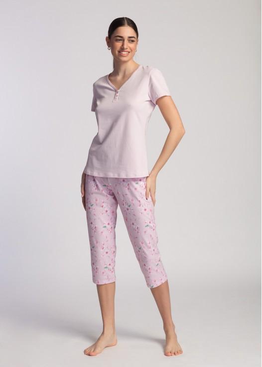 Pijama dama bumbac organic Blossom pink