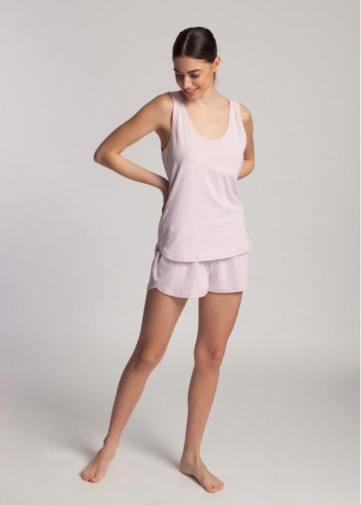 Pijama scurta dama bumbac organic Blossom pink