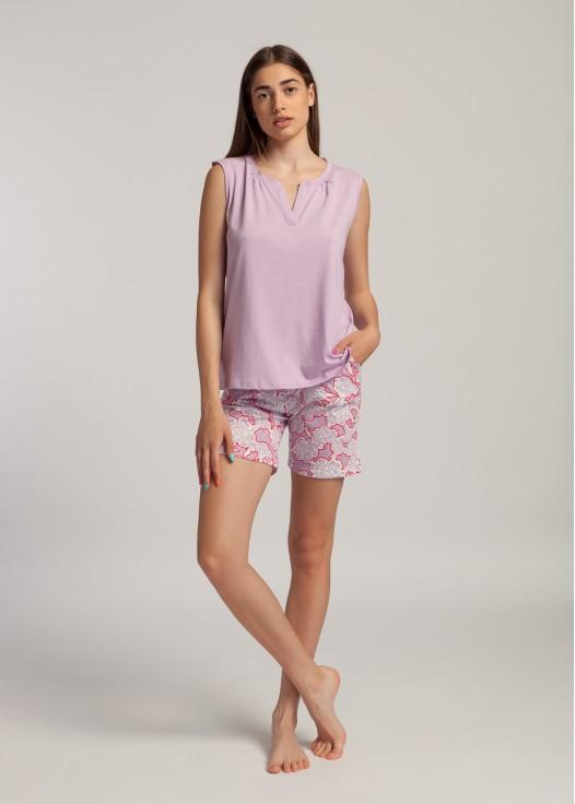 Pijama dama bumbac Gloria roz