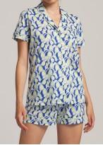 Pijama cu nasturi dama bumbac organic Fruity Lemons