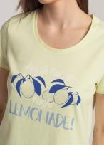 Pijama dama bumbac organic Fruity Lemons yellow