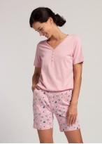 Pijama scurta dama bumbac organic Ginko pink nectar