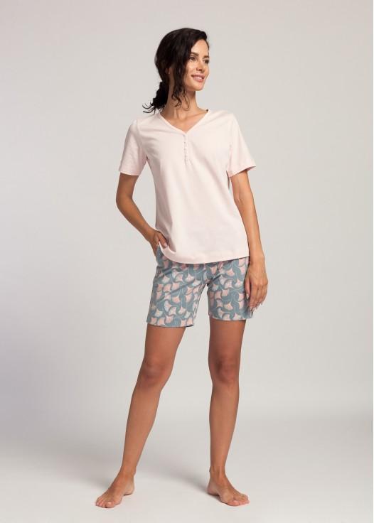 Pijama scurta dama bumbac organic Ginko pink