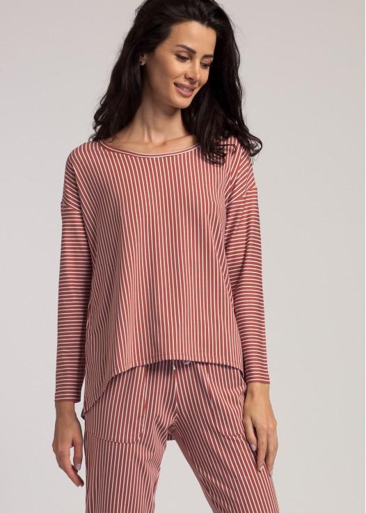 Bluza dama modal maneca lunga Urban Story dungi rosii