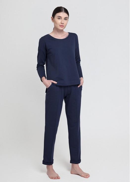 Bluza dama french terry maneca lunga bleumarin